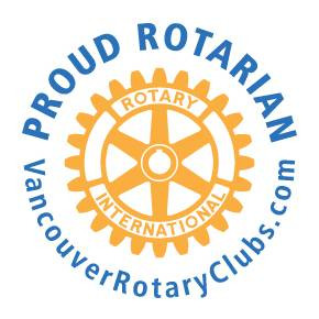 "Proud Rotarian decal/""cling"" displayed by Vancouver members in their workplaces and on vehicles."